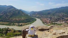 Mtskheta Georgia: Panoramautsikt på helig stad av Mtskheta och sammanflöde av de Kura och Aragvi floderna från den Jvari kloster royaltyfria bilder