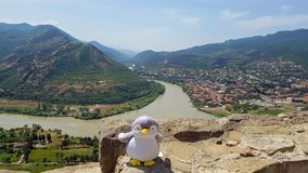 Mtskheta, Georgia: Panoramic view on Holy city of Mtskheta and confluence of the Kura and Aragvi rivers from Jvari Monastery royalty free stock images