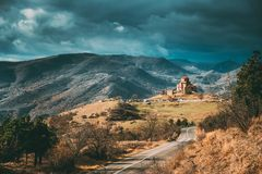 Mtskheta, Georgia. Road Going To Jvari, Georgian Orthodox Monastery, World Heritage By UNESCO. Beautiful Autumn Mountain. Landscape And Ancient Temple royalty free stock photos