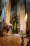Mtskheta Gruzja, Październik, - 4, 2016: Wnętrze Svetitskhoveli ortodoksa katedra Obrazy Stock
