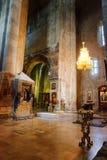 Mtskheta Gruzja, Październik, - 4, 2016: Wnętrze Svetitskhoveli ortodoksa katedra Zdjęcia Stock
