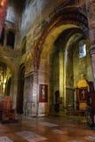Mtskheta Gruzja, Październik, - 4, 2016: Wnętrze Svetitskhoveli ortodoksa katedra Fotografia Royalty Free