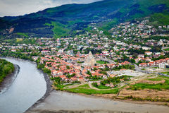 Mtskheta is one of the oldest cities of Georgia. Confluence of the Aragvi and Kura rivers in Mtskheta Royalty Free Stock Image