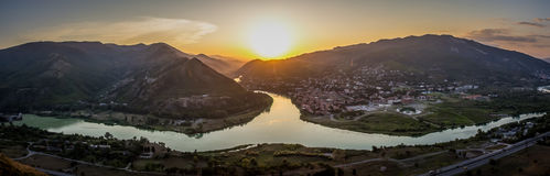 Mtskheta view from Jvari monastery, Georgia Royalty Free Stock Photo