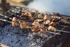 Mtsvadi skewers on barbecue Royalty Free Stock Photos
