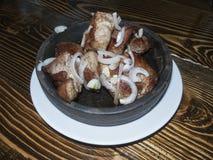 Mtsvadi - traditional Georgian pork barbecue Royalty Free Stock Photos
