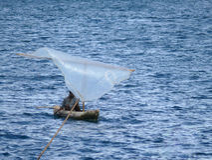 MTWARA Tanzania - December 3, 2008: Okänd ensam fiskare in Fotografering för Bildbyråer