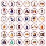 Muçulmanos e ícones temáticos do Islã Foto de Stock