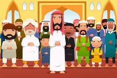 Muçulmanos que rezam em uma mesquita Imagem de Stock Royalty Free