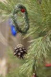 Muérdago de la Navidad con las ramas, la baya y el cono de árbol Imágenes de archivo libres de regalías