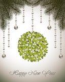 Muérdago de la tarjeta de la Feliz Año Nuevo Imagen de archivo