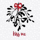 Muérdago dibujado mano con un arco rojo Fondo ligero con los pequeños copos de nieve Béseme cita Foto de archivo libre de regalías
