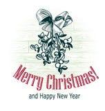 Muérdago exhausto del bosquejo del estilo retro del vector de la tarjeta de Navidad imagenes de archivo