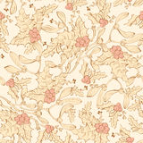Muérdago Holly Berries Seamless del vintage del vector Foto de archivo