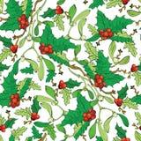 Muérdago Holly Berries Seamless Pattern del vector Fotografía de archivo libre de regalías