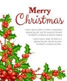 Muérdago plano decorativo Ramas con las hojas rojas del verde de las bayas Ornamento de la Navidad Ejemplo del vector aislado en  Fotos de archivo libres de regalías