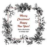 Muérdago y acebo La Navidad y Año Nuevo Ejemplo del vector en estilo del vintage con el estampado de flores stock de ilustración