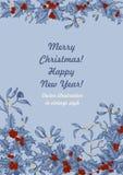 Muérdago y acebo La Navidad y Año Nuevo Ejemplo del vector en estilo del vintage con el estampado de flores fotos de archivo libres de regalías