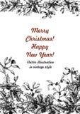 Muérdago y acebo La Navidad y Año Nuevo Ejemplo del vector en estilo del vintage con el estampado de flores foto de archivo