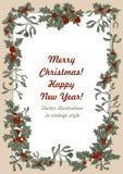 Muérdago y acebo La Navidad y Año Nuevo Ejemplo del vector en estilo del vintage con el estampado de flores imágenes de archivo libres de regalías