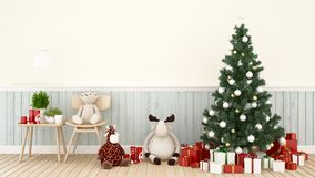 Muñeca animal con la caja del árbol de navidad y de regalo en la sala de estar - ilustraciones para la representación del día libre illustration