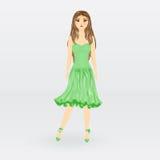 Muñeca de la imagen en vestido verde Fotos de archivo libres de regalías