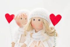 Muñeca de la materia textil hecha a mano - un par de ángeles Fotografía de archivo