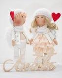 Muñeca de la materia textil hecha a mano - un par de ángeles Imagen de archivo
