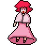muñeca de la muchacha del arte del pixel del vector stock de ilustración