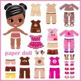 Muñeca de papel con la ropa fijada Foto de archivo