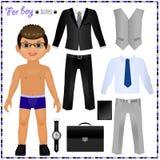 Muñeca de papel con un sistema de ropa Estilo del asunto stock de ilustración