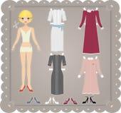 Muñeca de papel retra stock de ilustración