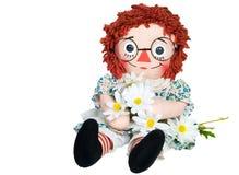 Muñeca de trapo con las margaritas Fotografía de archivo