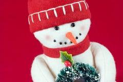 Muñeca del muñeco de nieve de la felpa Imagen de archivo