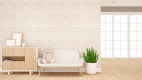 Muñeca del oso de peluche en el sofá en la sala de estar - diseño interior para las ilustraciones - representación 3d stock de ilustración