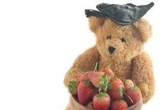 Muñeca del oso que sostiene las fresas en el fondo blanco Foto de archivo