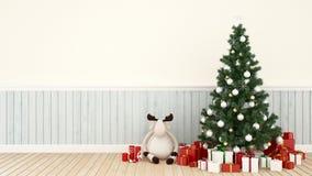 Muñeca del reno con la caja del árbol de navidad y de regalo en la sala de estar - ilustraciones para la representación del d libre illustration