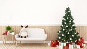 Muñeca del reno en el sofá con el árbol de navidad y el regalo en la sala de estar - ilustraciones para el día de la Navidad  stock de ilustración