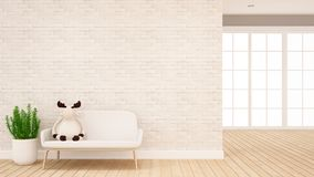 Muñeca del reno en el sofá en la sala de estar - diseño interior para las ilustraciones - representación 3d libre illustration