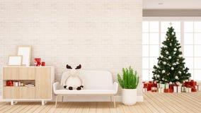 Muñeca del reno en el sofá en la sala de estar para el apartamento o las ilustraciones caseras - diseño interior - representac libre illustration