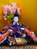 Muñeca japonesa del emperador del día de las muchachas Fotografía de archivo