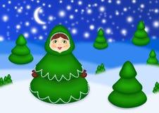Muñeca jerarquizada en una madera de la Navidad Ilustración del Vector