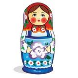 Muñeca jerarquizada rusa única (Matryoshka) en blanco, que se colocan cerca juntos como una familia Foto de archivo libre de regalías