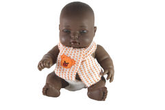 Muñeca negra del bebé con la bufanda Fotografía de archivo libre de regalías