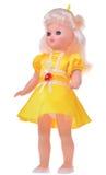 Muñeca retra en el vestido amarillo aislado en el fondo blanco Fotos de archivo libres de regalías