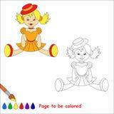 Muñeca rubia del juguete en vestido anaranjado y sombrero rojo Fotos de archivo