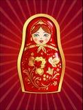 Muñeca rusa roja stock de ilustración