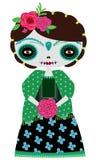 Muñeca verde del catrina stock de ilustración