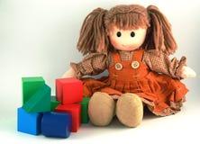 Muñeca y ladrillos de trapo Fotografía de archivo libre de regalías