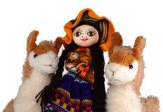 Muñeca y llamas indias peruanas Foto de archivo libre de regalías